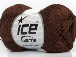 Lot of 6 Skeins Ice Yarns ALMINA COTTON (100% Mercerized Cotton) Yarn Brown