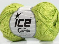 Lot of 6 Skeins Ice Yarns ALMINA COTTON (100% Mercerized Cotton) Yarn Light Green
