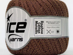 Lot of 6 Skeins Ice Yarns DAPHNE COTTON METALLIC (96% Mercerized Cotton) Yarn Brown Gold