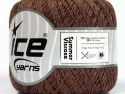 Lot of 6 Skeins Ice Yarns SUMMER VISCOSE (72% Mercerized Cotton 28% Viscose) Yarn Brown