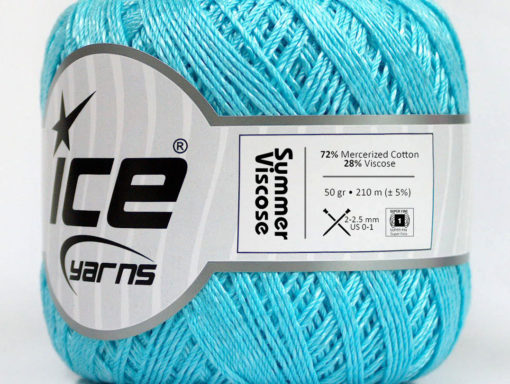 Lot of 6 Skeins Ice Yarns SUMMER VISCOSE (72% Mercerized Cotton 28% Viscose) Yarn Light Turquoise