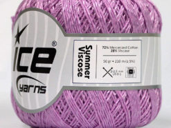 Lot of 6 Skeins Ice Yarns SUMMER VISCOSE (72% Mercerized Cotton 28% Viscose) Yarn Lilac