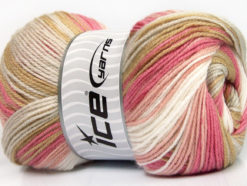 Lot of 4 x 100gr Skeins Ice Yarns MAGIC BABY Yarn Beige Pink Shades White
