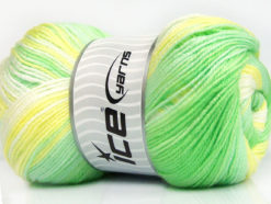 Lot of 4 x 100gr Skeins Ice Yarns MAGIC BABY Yarn Green Shades Yellow White