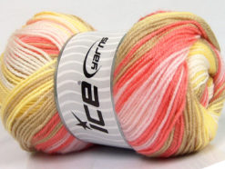 Lot of 4 x 100gr Skeins Ice Yarns MAGIC BABY Yarn Yellow Camel Salmon Pink White