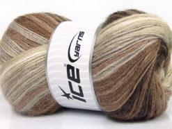 Lot of 4 x 100gr Skeins Ice Yarns MOHAIR MAGIC (20% Mohair 20% Wool) Yarn Brown Shades Cream