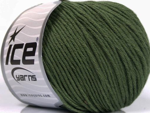 Lot of 4 x 100gr Skeins Ice Yarns COTTON BAMBOO LIGHT (60% Bamboo 40% Cotton) Yarn Dark Khaki