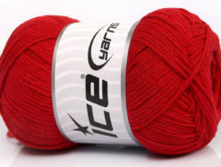 Lot of 4 x 100gr Skeins Ice Yarns NATURAL COTTON AIR (100% Cotton) Yarn Red