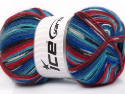 Lot of 4 x 100gr Skeins Ice Yarns SUPER SOCK (75% Superwash Wool) Yarn Turquoise Lilac Blue Red Burgundy