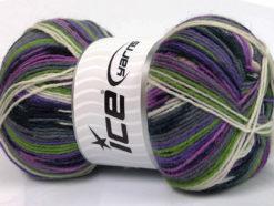 Lot of 4 x 100gr Skeins Ice Yarns SUPER SOCK (75% Superwash Wool) Yarn Lilac Green Black Grey White