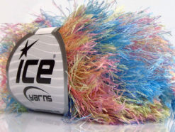 Lot of 8 Skeins Ice Yarns LONG EYELASH COLORFUL Yarn Blue Pink Yellow Mint Green