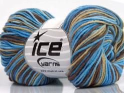 Lot of 8 Skeins Ice Yarns LORENA PRINT (55% Cotton) Yarn Blue Shades Brown Beige