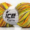 Lot of 8 Skeins Ice Yarns LORENA PRINT (55% Cotton) Yarn Green Yellow Camel Orange
