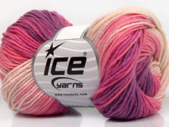 Lot of 8 Skeins Ice Yarns LORENA PRINT (55% Cotton) Yarn Lilac Light Pink Cream