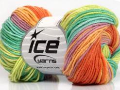 Lot of 8 Skeins Ice Yarns LORENA PRINT (55% Cotton) Yarn Green Shades Orange Yellow Lilac
