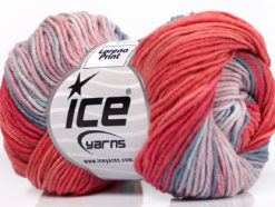 Lot of 8 Skeins Ice Yarns LORENA PRINT (55% Cotton) Yarn Salmon Pink Blue Shades
