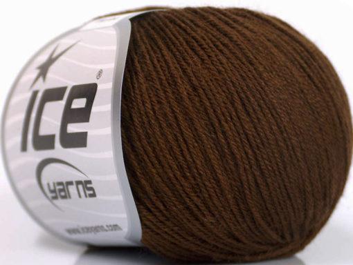 Lot of 6 Skeins Ice Yarns BABY MERINO (40% Merino Wool) Yarn Dark Brown