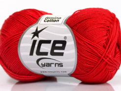 Lot of 6 Skeins Ice Yarns ALMINA COTTON (100% Mercerized Cotton) Yarn Bright Red
