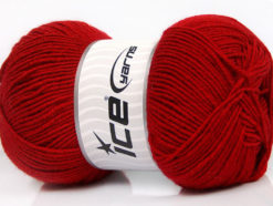 Lot of 4 x 100gr Skeins Ice Yarns ELITE WOOL (30% Wool) Hand Knitting Yarn Red