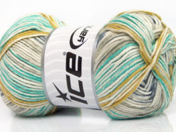 Lot of 4 x 100gr Skeins Ice Yarns BABY COTTON PRINT (50% Cotton) Yarn Cream Khaki Gold Light Grey Light Blue