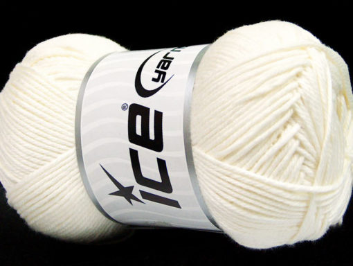 Lot of 4 x 100gr Skeins Ice Yarns BABY COTTON 100GR (100% Giza Cotton) Yarn White