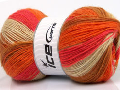 Lot of 4 x 100gr Skeins Ice Yarns ANGORA PRINT (20% Angora 20% Wool) Yarn Light Brown Orange Salmon Cream