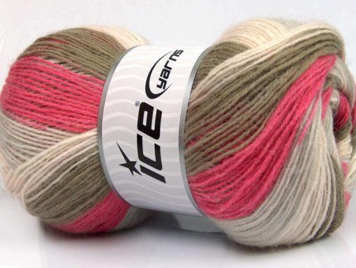 Lot of 4 x 100gr Skeins Ice Yarns ANGORA PRINT (20% Angora 20% Wool) Yarn Pink Shades Khaki Light Grey