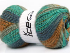Lot of 4 x 100gr Skeins Ice Yarns ANGORA PRINT (20% Angora 20% Wool) Yarn Blue Mint Green Grey Brown