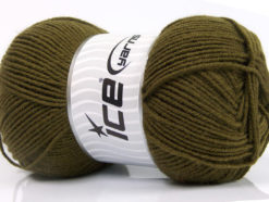 Lot of 4 x 100gr Skeins Ice Yarns ELITE WOOL (30% Wool) Yarn Dark Khaki
