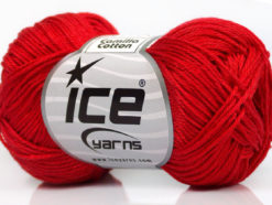 Lot of 6 Skeins Ice Yarns CAMILLA COTTON (100% Mercerized Cotton) Yarn Red
