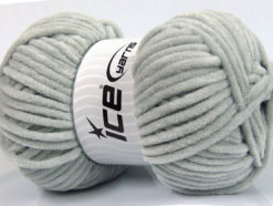 Lot of 4 x 100gr Skeins Ice Yarns CHENILLE BABY (100% MicroFiber) Yarn Light Grey