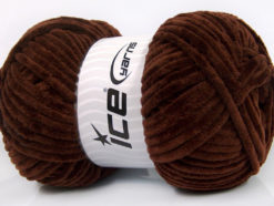 Lot of 4 x 100gr Skeins Ice Yarns CHENILLE BABY (100% MicroFiber) Yarn Dark Brown