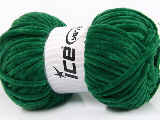 Lot of 4 x 100gr Skeins Ice Yarns CHENILLE BABY (100% MicroFiber) Yarn Dark Green