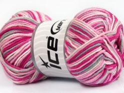 Lot of 4 x 100gr Skeins Ice Yarns PLAID COTTON (100% Cotton) Yarn Pink Shades Light Grey White