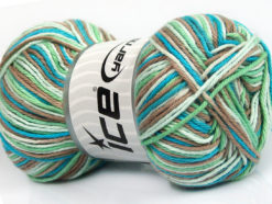 Lot of 4 x 100gr Skeins Ice Yarns PLAID COTTON (100% Cotton) Yarn Turquoise Mint Green Camel White