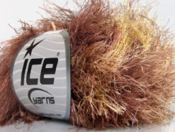 Lot of 8 Skeins Ice Yarns LONG EYELASH COLORFUL Hand Knitting Yarn Brown Gold