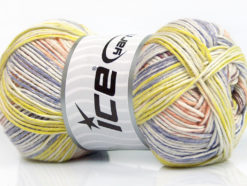Lot of 4 x 100gr Skeins Ice Yarns BABY COTTON PRINT (50% Cotton) Yarn Lilac Light Green Salmon
