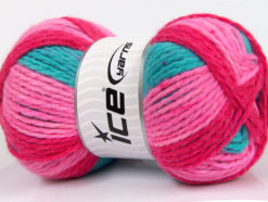 Lot of 4 x 100gr Skeins Ice Yarns DESIGN WOOL WORSTED (30% Wool) Yarn Pink Shades Lilac Turquoise