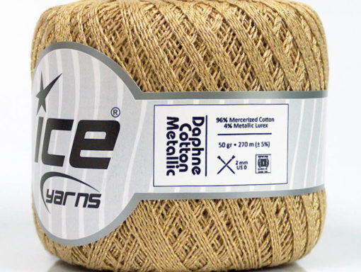 Lot of 6 Skeins Ice Yarns DAPHNE COTTON METALLIC (96% Mercerized Cotton) Yarn Camel Gold