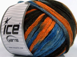 Lot of 4 x 100gr Skeins Ice Yarns PAINT BALL (50% Wool) Yarn Brown Orange Blue