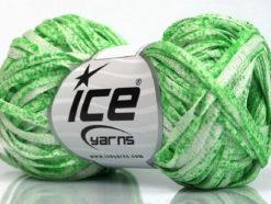 Lot of 8 Skeins Ice Yarns VISCOSE SHINE BULKY (82% Viscose) Yarn Light Green White