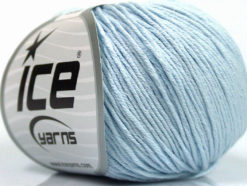 Lot of 4 Skeins Ice Yarns ORGANIC BABY COTTON (100% Organic Cotton) Yarn Light Blue