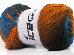 Lot of 4 x 100gr Skeins Ice Yarns PRIMADONNA (50% Wool) Yarn Brown Shades Gold Blue