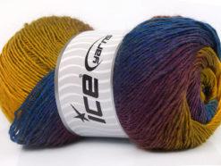 Lot of 4 x 100gr Skeins Ice Yarns PRIMADONNA (50% Wool) Yarn Blue Maroon Green Gold