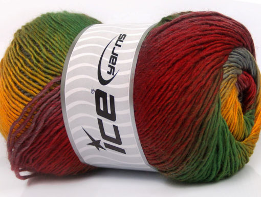 Lot of 4 x 100gr Skeins Ice Yarns PRIMADONNA (50% Wool) Yarn Red Green Yellow Grey