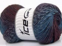 Lot of 4 x 100gr Skeins Ice Yarns PRIMADONNA (50% Wool) Yarn Blue Shades Maroon Purple