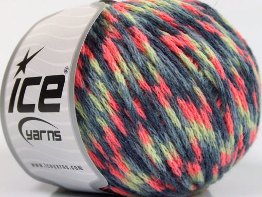 Lot of 8 Skeins Ice Yarns FIREWORKS (40% Wool) Yarn Grey Shades Mint Green Pink