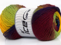 Lot of 4 x 100gr Skeins Ice Yarns PRIMADONNA (50% Wool) Yarn Burgundy Blue Yellow Neon Green