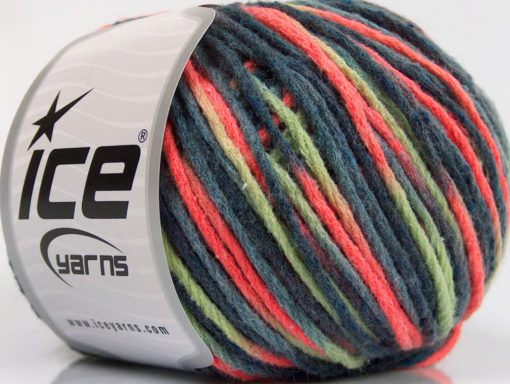 Lot of 8 Skeins Ice Yarns WOOL WORSTED COLOR (50% Wool) Yarn Blue Shades Green Neon Orange