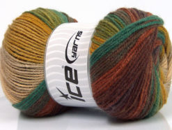 Lot of 4 x 100gr Skeins Ice Yarns MAGIC LIGHT Yarn Brown Shades Green Shades Gold Beige
